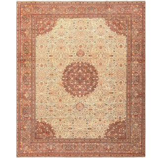 Antique Persian Tabriz Carpet - 9′6″ × 11′6″ For Sale