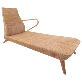 Mid-Century Modern Woven Chaise Lounge For Sale