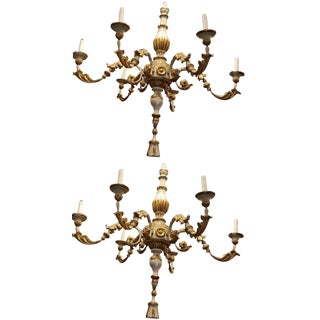 Pair 18th C Tuscano Painted & Gilt Wood 6 Lites Chandeliers For Sale