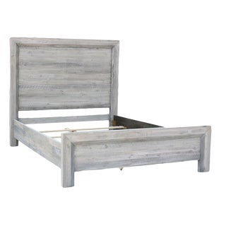 Grey Washed Solid Acacia Queen Bed For Sale