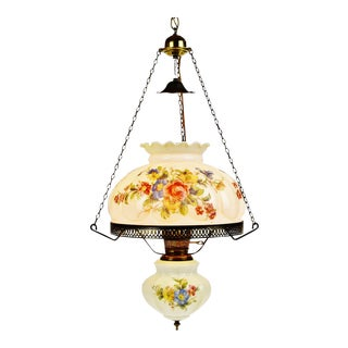 Antique Electrified Hanging Oil Lamp Swag Pendant Chandelier For Sale