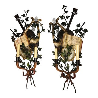 1950s Baroque Italian Tole Musical Sconces - a Pair