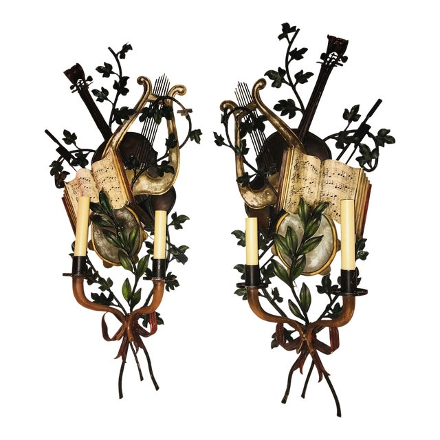 1950s Baroque Italian Tole Musical Sconces - a Pair For Sale
