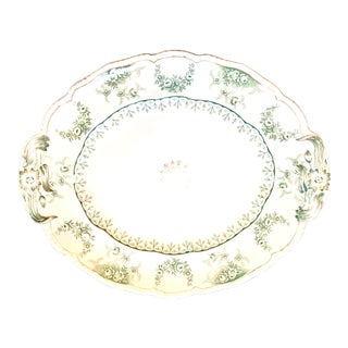 """Late 19th C. John Maddock & Sons """"Warwick"""" Large Transfer Ware China Platter For Sale"""