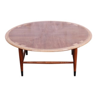 Lane Acclaim Mid-Century Modern Walnut and Ash Round Coffee Table, 1960s For Sale