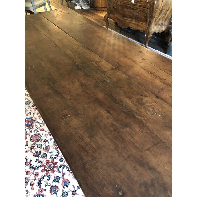 Brown 19th Century French Walnut Farm Table For Sale - Image 8 of 13