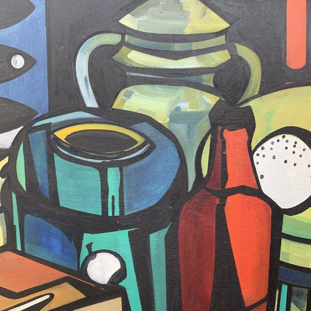 """Cubist Still Life With Bottles and Fish Signed on Verso """"m. Ridley"""" and """"Marleen Wooling"""" on the Frame For Sale - Image 4 of 6"""