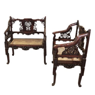 1900s Vintage Chinese Carved Mahogany Benches- A Pair For Sale