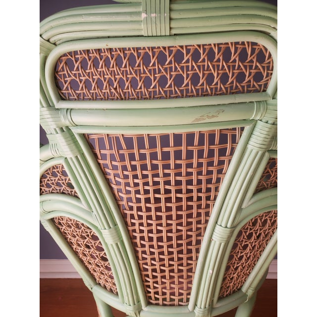 Pink 1980s Vintage Rattan Peacock Throne Chairs- A Pair For Sale - Image 8 of 13