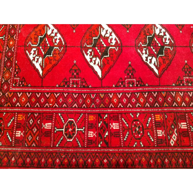 """1960s 1960s Turkman Tribal Red and Cream Wool Carpet 4' X 5' 5"""" For Sale - Image 5 of 8"""