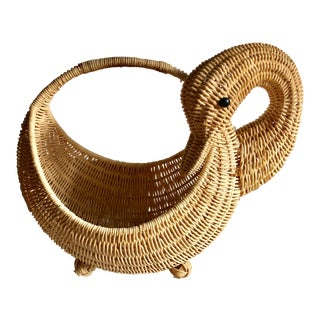 Swan Wicker Handled Basket For Sale