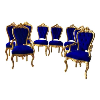 Modern Baroque Royal Blue Dining Chairs - Set of 8 For Sale