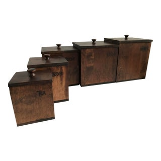 Square Wood Canister Set by Danwood Craft - 5 Piece Set For Sale