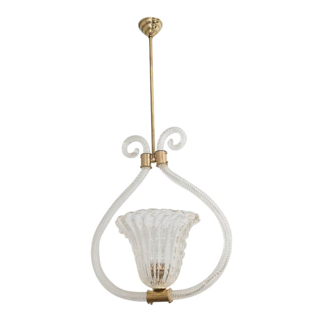 "Barovier & Toso ""Bullicante"" Murano Glass and Brass Pendant/Chandelier For Sale"