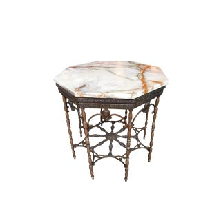Art Deco Octagonal Gilt Metal & Onyx Marble Coffee Table Attributed to Oscar Bach