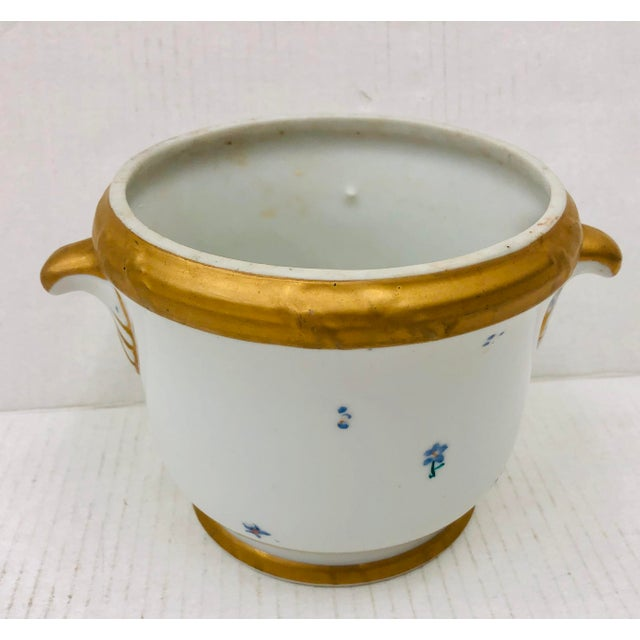 Charming Antique Porcelain Cache Pot with Gilded Edges and Handles. The perfect jardiniere planter for orchids! Even with...