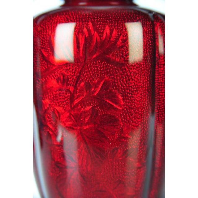 Antique Japanese Red Cloisonne Vase For Sale - Image 4 of 8