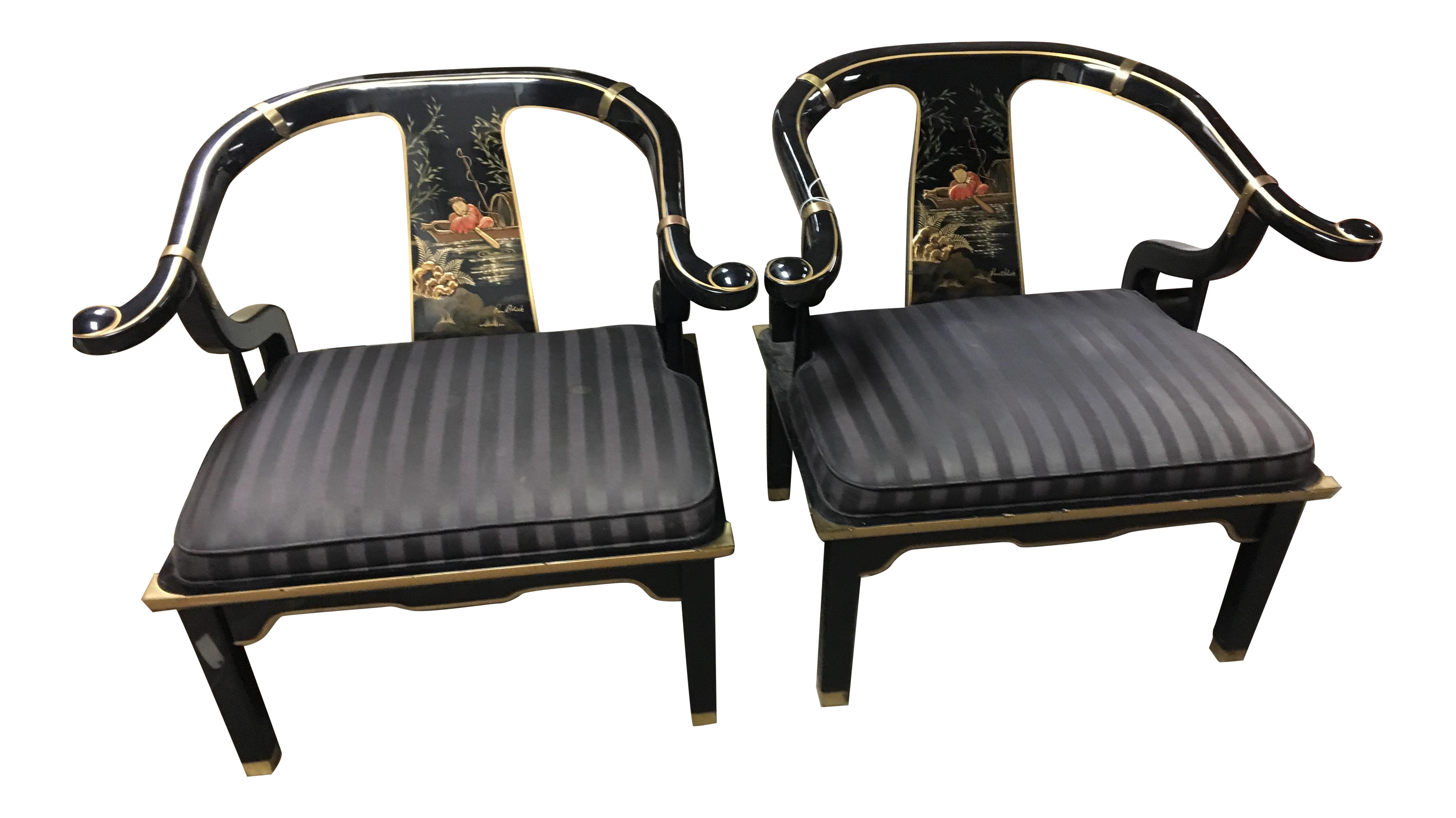 Century Furniture James Mont Style Lacquered Asian Horseshoe Chairs   A Pair