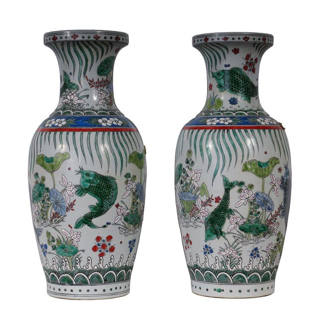 Look at this pair of magnificent Chinese Antique porcelain vase. It was hand made and hand paint from famous Porcelain. It...