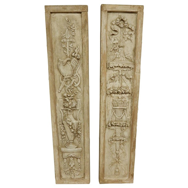 Wood French Classical Plaster Reliefs - a Pair For Sale - Image 7 of 7