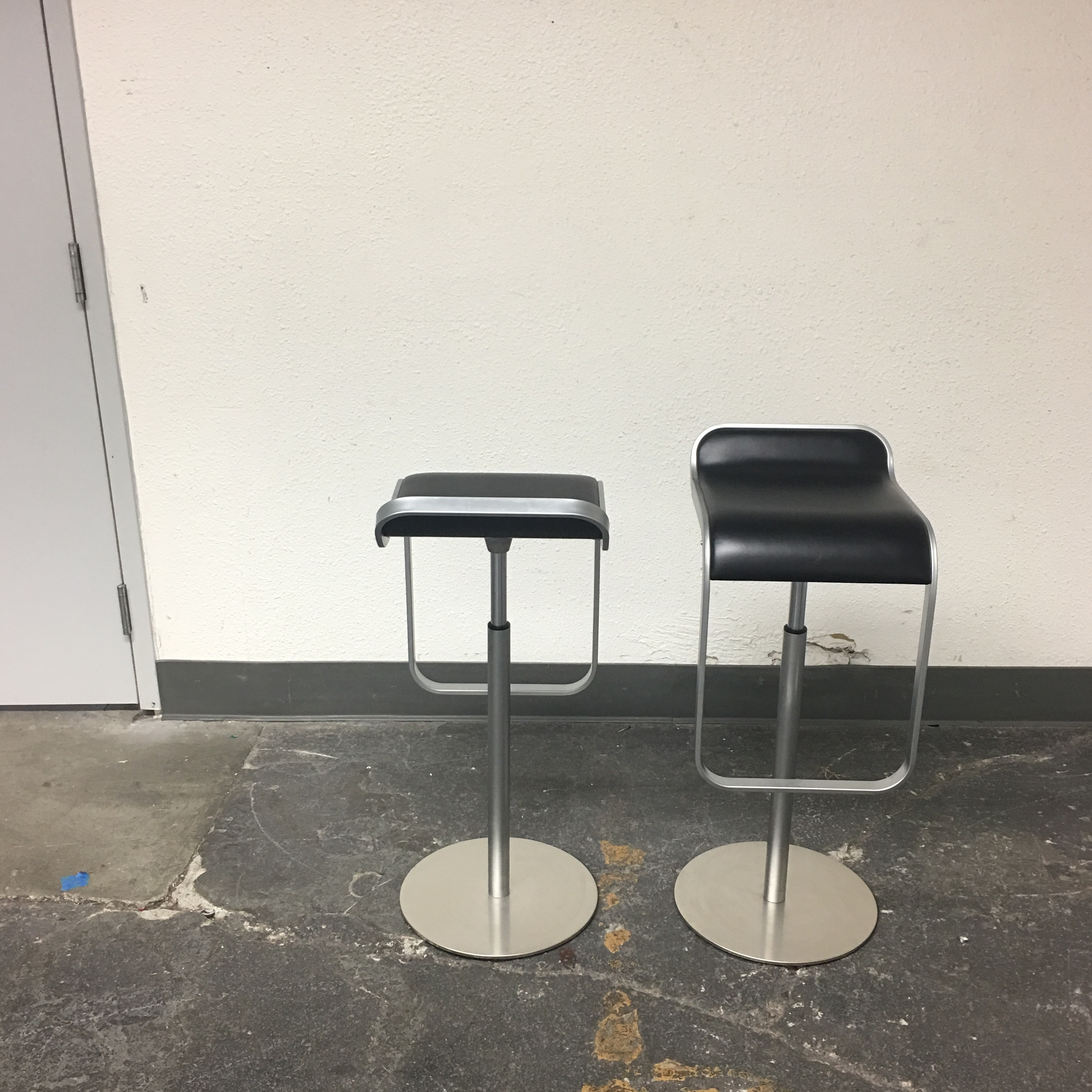 Exceptional DWR Lem Piston Stools With Black Leather Seats   A Pair   Image 6 Of 8 Awesome Ideas