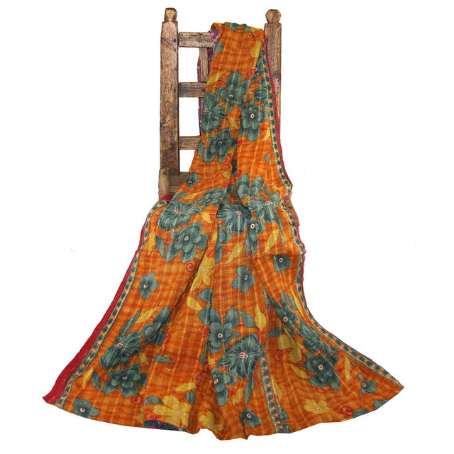 Vintage Orange & Pink Kantha Quilt - Image 3 of 3