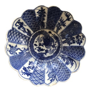 Blue and White Scalloped Bowl For Sale