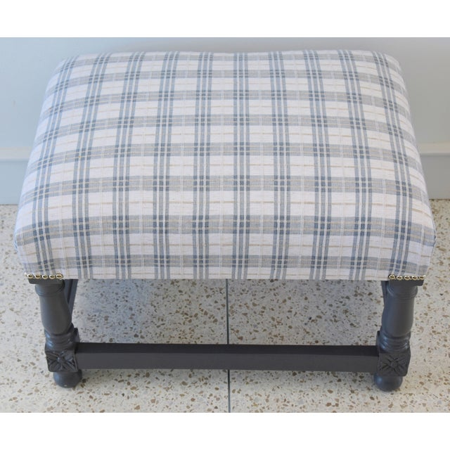 Abstract Vintage Ottoman Upholstered With Designer Linen Accented W/ Nailhead Tacking For Sale - Image 3 of 13