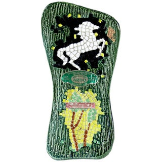Girolamo Luxardo Ardo Green Cactus White Horse Ceramic Mosaic Wine Bottle For Sale