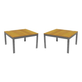 American Post-War Chrome and Wood Coffee Tables For Sale