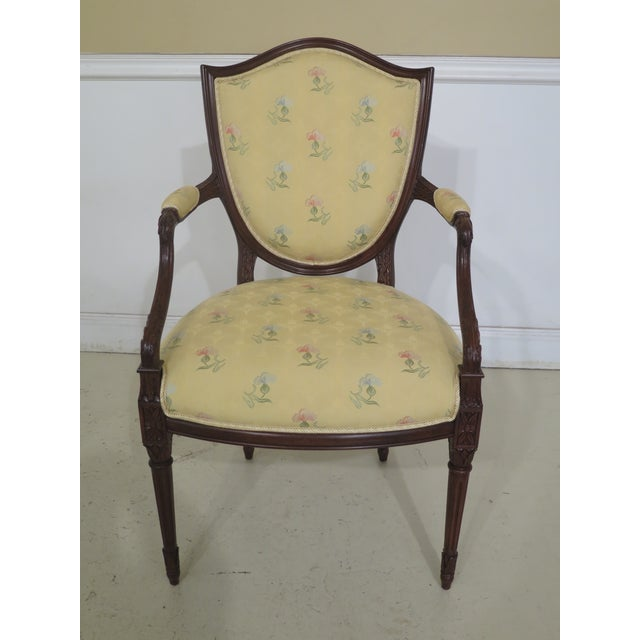 Traditional Shield Back Style Upholstered Dining Room Chairs- Set of 8 For Sale - Image 3 of 13