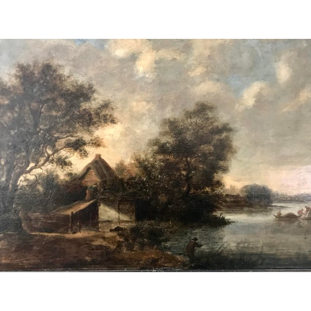 Traditional Antique Dutch Landscape Oil Painting Signed Ruisdael 17th Century For Sale - Image 3 of 9