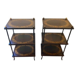 Hand-Painted 3 Tier Side Tables - a Pair For Sale