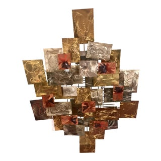 Brutalist Metal Wall Sculpture by Higgins For Sale