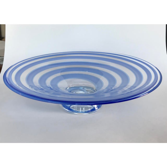 Large Blue Swirl Art Glass Footed Centerpiece Bowl For Sale - Image 9 of 9