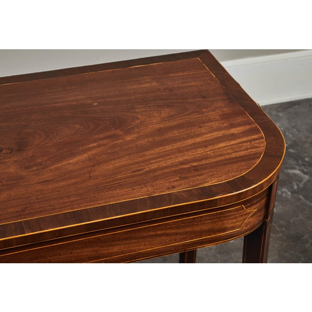 Mid 19th Century 19th Century English Mahogany Inlaid Console Table For Sale - Image 5 of 9