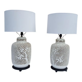 1960s Hollywood Regency Chinoiserie Blanc De Chine Table Lamps - a Pair