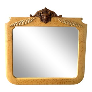 Early 20th Century Antique Victorian North Wind Tiger Quarter Sawn Solid Oak Carved Mirror For Sale