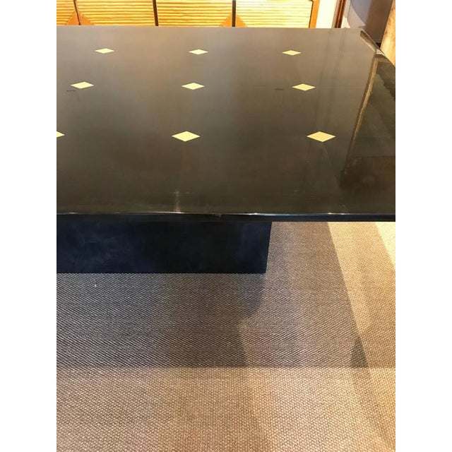 "Stunning goatskin ""Shagreen"" lacquered dining table, the top with 15 inlaid brass diamonds, raised on pedestal base, all..."