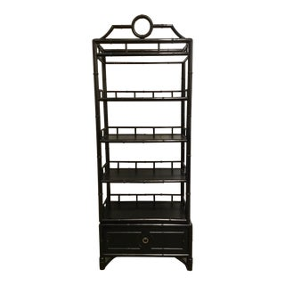 Vangaurd Co. Mid-Century Modern Style Black Bamboo Wood Shelf For Sale