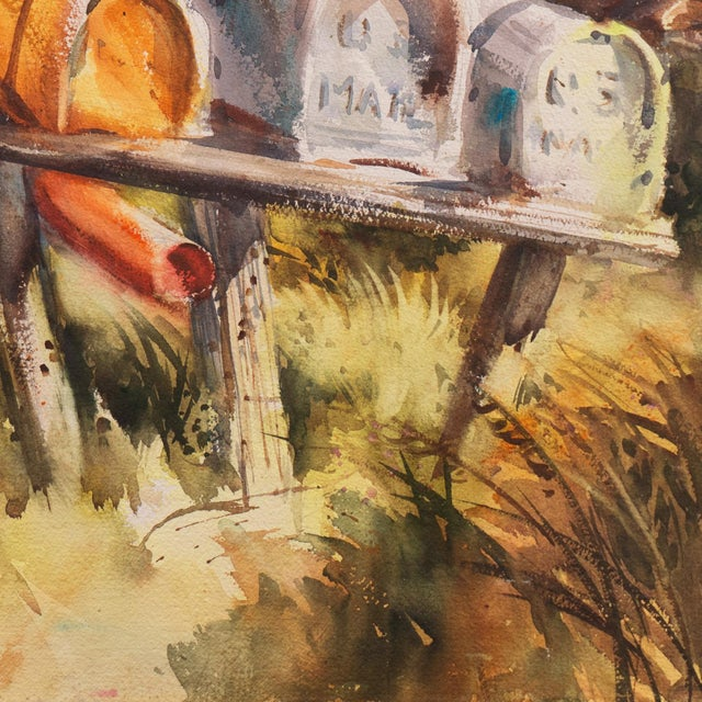 Watercolor 'Rural Route Mailboxes' by Jane Burnham, California Woman Artist, Society of Western Artists For Sale - Image 7 of 8