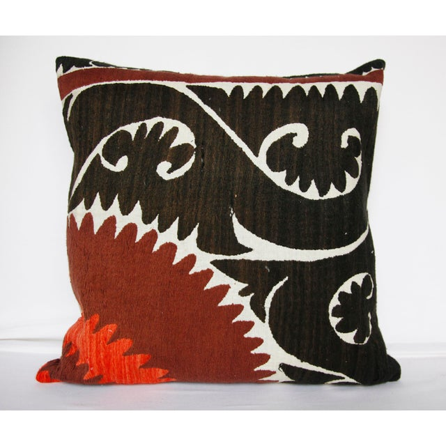 Handwoven Suzani Pillow Cover For Sale - Image 11 of 11
