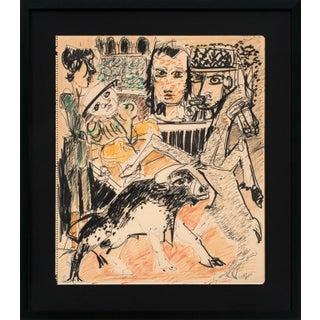 "Circa 1955 ""La Corrida"" Mixed-Media Drawing by Bernard Lorjou, Framed For Sale"