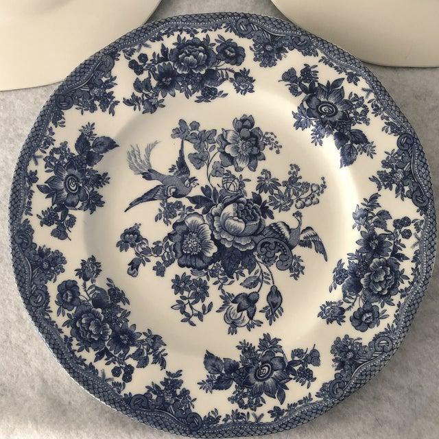 Ceramic Asiatic Pheasant Johnson Brothers Blue and White Plates - 4 Pieces For Sale - Image 7 of 11