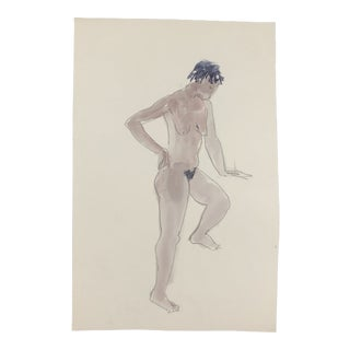 Posing Female Nude Watercolor by Myra Kyle 1980s For Sale
