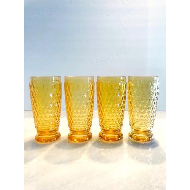 2000 - 2009 Set of Seven Vintage Villeroy & Boch Crystal Highball Glasses in Amber For Sale - Image 5 of 13