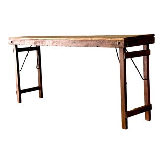 Vintage Rustic Barn Wood Console Table For Sale