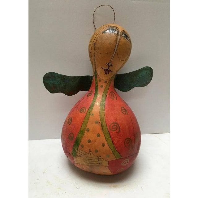 Folk Art Folk Art Hand Painted Angel Gourds - Set of 3 For Sale - Image 3 of 7