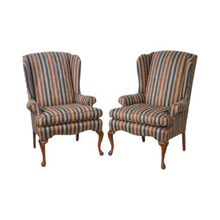Custom Pair of Queen Anne Striped Wing Chairs