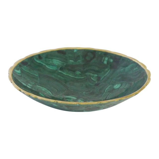 Brass Trimmed Malachite Dish For Sale